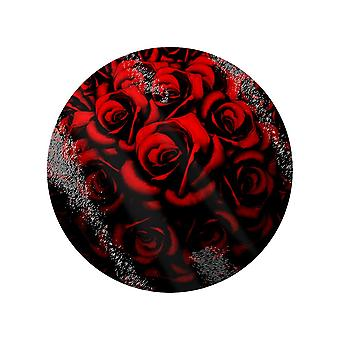 Grindstore Red Roses Circular Glass Chopping Board