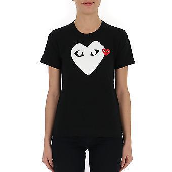 Comme Des Garçons Play P1t1151 Women's Black Cotton T-shirt