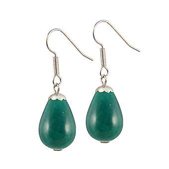 Eternal Collection Fontana Teal Jade Silver Tone Drop Pierced Earrings