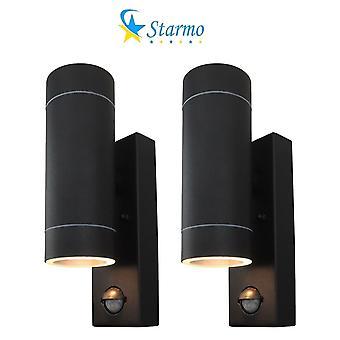 2 X Starmo Dual Pir Wall Light Up & Down Illumination Motion Sensor Matt Black Ip44 Rated