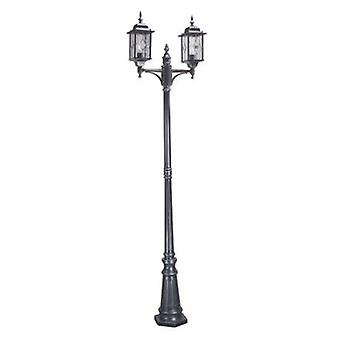 2 Light Outdoor Lampe Post Black Silver Ip43