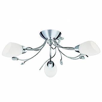 3 luz multi braço teto Semi Flush luz cromo, cristal e vidro Opal