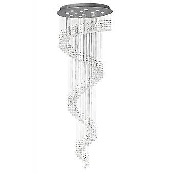 Diyas Colorado Pendant Multi-Spiral 12 Light Polished Chrome / Crystal