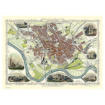 Historique Portal Preston 1851 Carte John Tallis 1000 Piece Jigsaw 690mm x 480mm (jg)