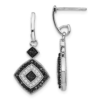 925 Sterling Silver Prong set Gift Boxed Post Earrings Rhodium plated Black and White Diamond Earrings Jewelry Gifts for