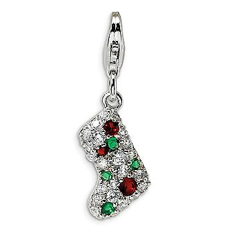 925 Sterling Silver Multi colored Rhodium plated Fancy Lobster Closure Mulitcolor CZ Cubic Zirconia Simulated Diamond St