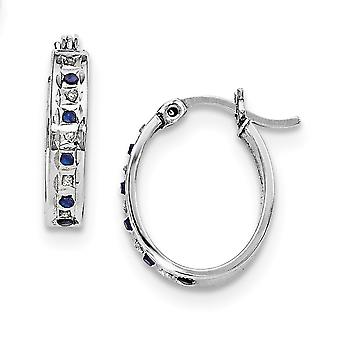 925 Sterling Silver Polished Gift Boxed Gemstone accent and Platinum plated Dia. and Sapphire Oval Hinged Hoop Earrings