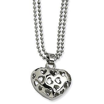 Edelstahl ausgeschnitten poliert Fancy Hummer Verschluss puffed Liebe Herz mit Herz Ausschnitte Halskette 22 Zoll Schmuck Gif