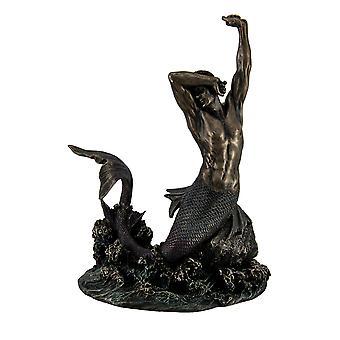 Stretching Meerman van rusten rots baai glanzend Pewter Finish standbeeld 8 Inch