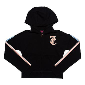 Infant Girls Juicy Couture Gothic Script Hoody In Black- Ribbed Cuffs And Hem-