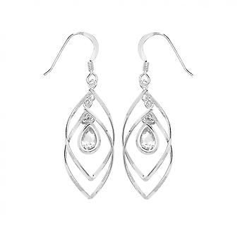 Eternity Sterling Silver Cubic Zirconia Teardrop In Spiral Drop Boucles d'oreilles
