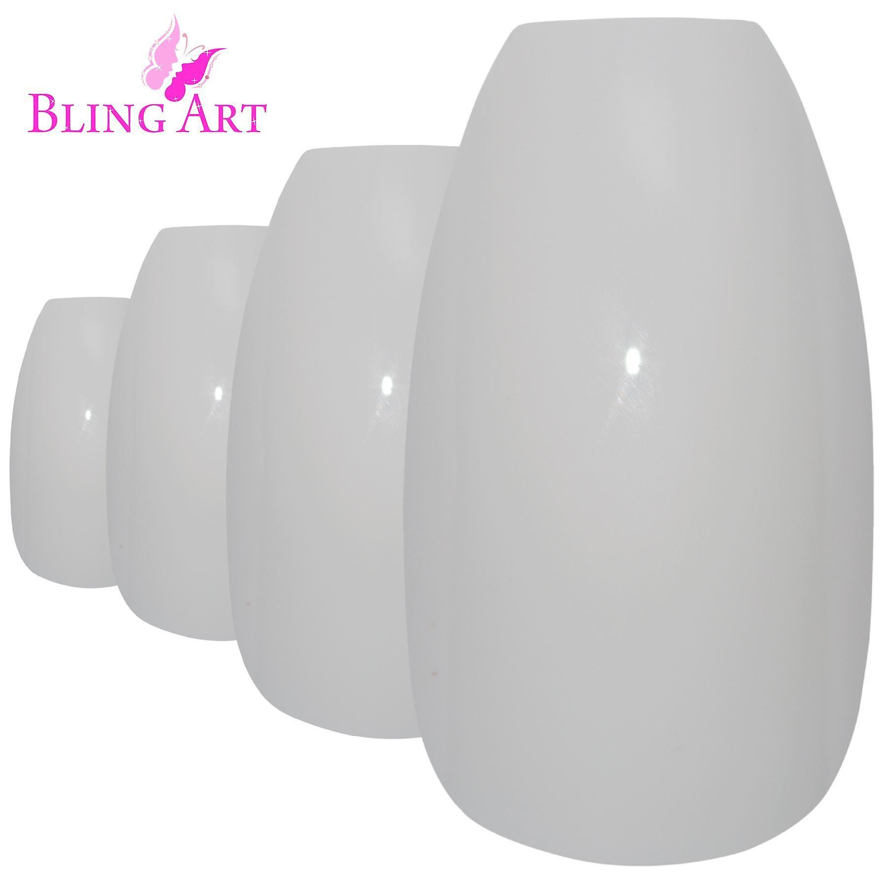 False nails bling art white polished ballerina coffin long acrylic fake tips