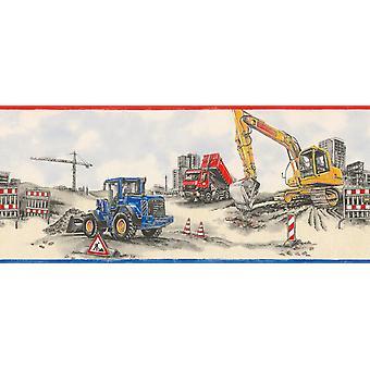 Rasch Construction Site Wallpaper Border Trucks Tractores Azul Rojo Beige Gris