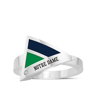 University Of Notre Dame Engraved Sterling Silver Diamond Geometric Ring In Blue and Green