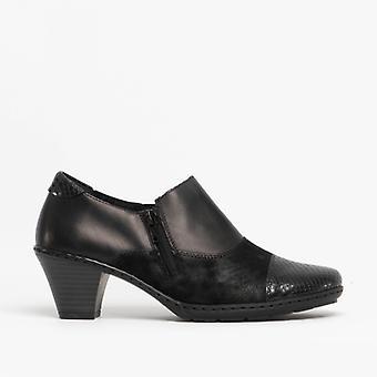 ريكر 57173-00 السيدات أحذية جلدية الكعب الأسود