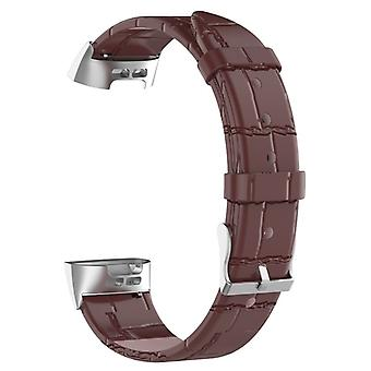 Durable leather bracelet compatible with Fitbit Charge 3-Brown