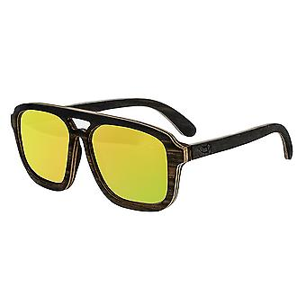Earth Wood Playa Polarized Sunglasses - Ebony & Maple/Yellow