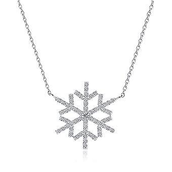 Fei Liu Fine Jewellery - Classic women's pendant in the shape of a snowflake in Silver and Zirconi