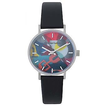 Uhr Christian Lacroix CLW012 - Silber Stahl Leder Armband Schwarz schwarz Zifferblatt Multicolor Frauen