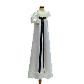 Dopklänning, Dophätta I Off White, Mörk Grön Rosett. Grace Of Sweden