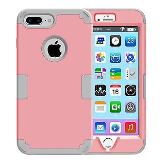 لفون 8 PLUS، 7 زائد القضية، أنيقة ثلاثية طبقة درع الغطاء الواقي، الوردي