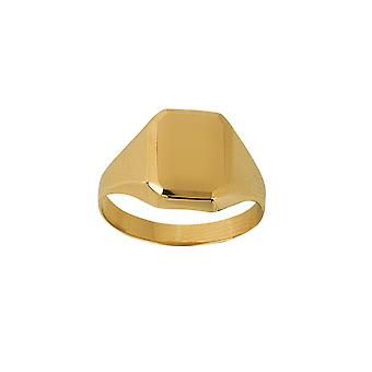 14k Yellow Gold Signet Rectangular Engravable Ring Jewelry Gifts for Women - Ring Size: 6 to 9