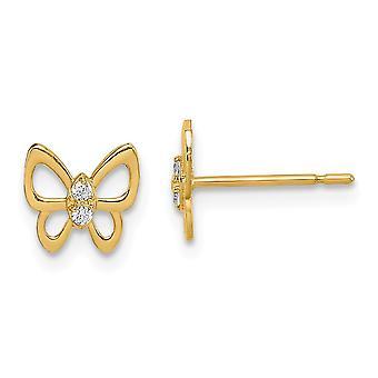 14k Madi K Butterfly Angel Wings CZ Cubic Zirconia Simulerade Diamond Stud Örhängen Smycken Gåvor för kvinnor