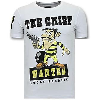 T-Shirt Print - The Chief Wanted - Biały