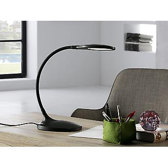 Schuller Scoop - LED desk table lamp, made of plastic, matt black colour. Flexible arm. Adjustable intensity by tactile switch. 7W LED. 570 lm. 4.000 K. - 552764