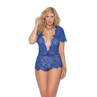 Womens Plus Size Sexy Eyelash Lace Plunge Neck Short Sleeve Romper Teddy Lingerie