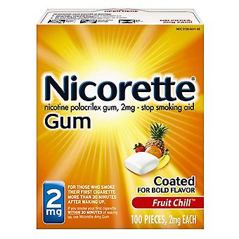Nicorette stop smoking aid gum, 2 mg, fruit chill, 100 ea