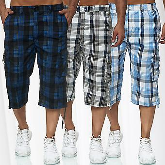 Men Basic Cargo Shorts. Short airy Bermuda Summer checkered 3/4 Capri pants
