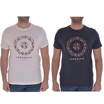 Lambretta Mens Paisley Target Bomull Kort ärm Casual T-shirt Top Tee