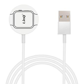 Apple Watch Magnetic Cable Wireless QI Fast Secure Charge 1m- LinQ, White