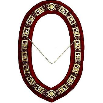 Knights templar - masonic chain collar - gold/silver on red