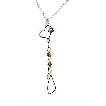 Ellugo Heart 20 Inch Mobile Necklace Made With Swarovski Crystals