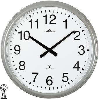 Atlanta 4449 wall clock radio radio controlled wall clock analog silver round plain