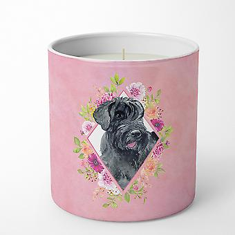 Giant Schnauzer Pink Flowers 10 oz Decorative Soy Candle