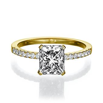 1 Carat F SI1 Diamond Engagement Ring 14k Yellow Gold Micro Pave Promise Ring Radian Cut