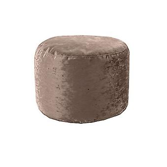 Hippo | Round Bean Bag Footstool Pouffe Seat in Shiny Crushed Velvet Fabric (Chocolate)