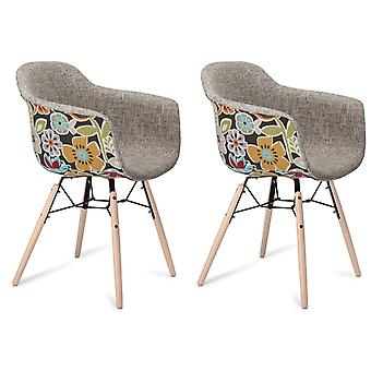 Furnhouse Flame Dining Chair, Red/Grey, Black Legs, 59x57x80 cm, Set of 2