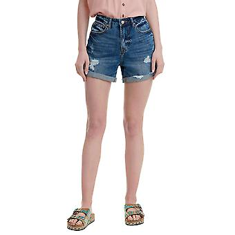 Funky Buddha Women's Denim Shorts With Destroyed Effects