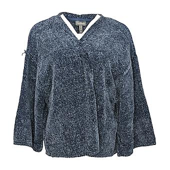 Anybody Women's Plus Sweater Chenille Cropped Cardigan Blue A345313