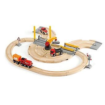 BRIO Rail & Road Crane Set 33208 26 Piece Wooden Railway and Road Set