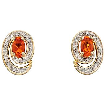 Elementos oro fuego opal Stud Pendientes - oro / naranja