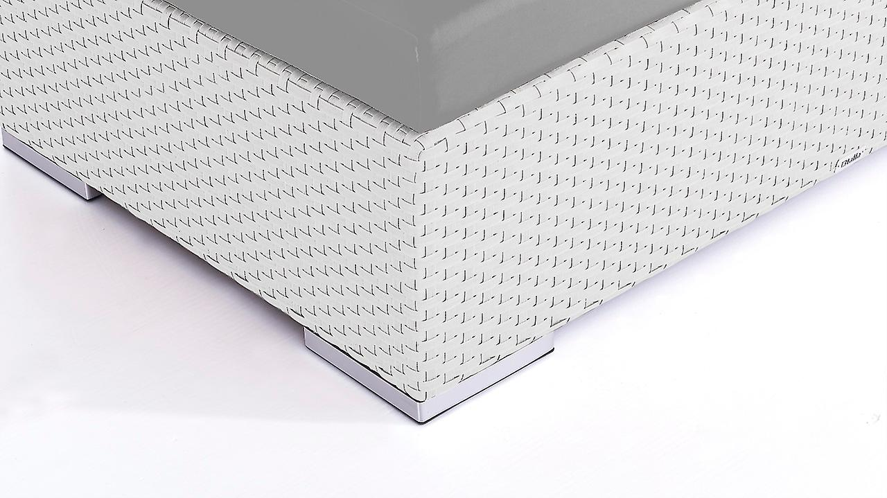 Polyrattan Cube Hocker 125 cm - weiß satiniert
