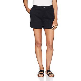 """Essentials Women's 5"""" Inseam Solid Chino Shorts,, Zwart, Maat 12.0"""