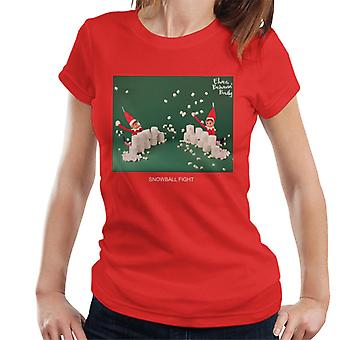Elves Behavin' Badly Snowball Fight Women's T-Shirt