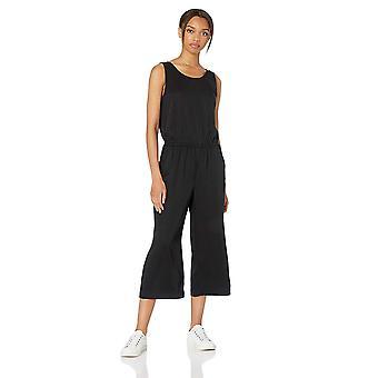 Tägliche Ritual Frauen's Tencel ärmellose V-Rücken Jumpsuit, schwarz, 12