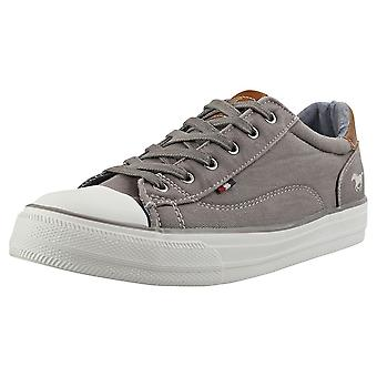 Mustang Causal Lace Low Womens Casual Trainers in Grey